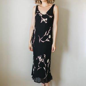 Vintage Jones New York 90s Black Floral Dress